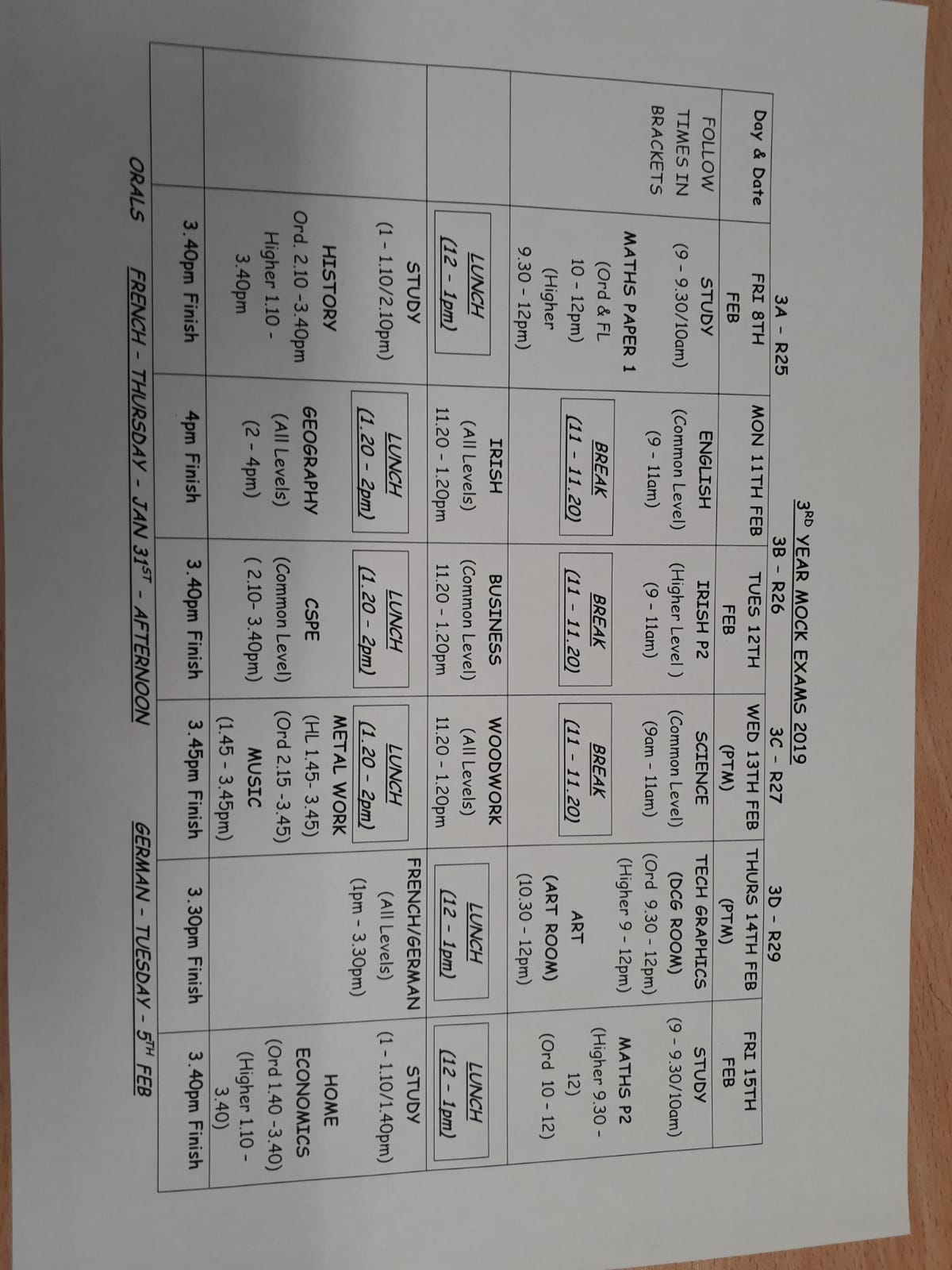 Mock Exam Timetables 2019 | Ramsgrange Community School